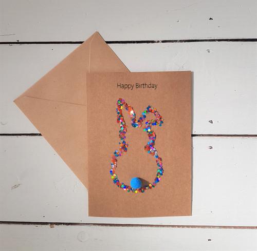 Sequin Bunny Birthday Card