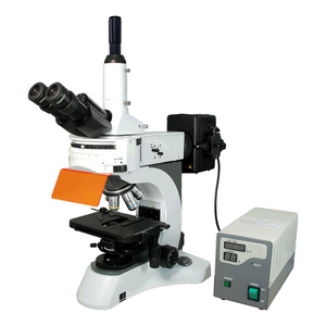 40X-1000X Fluorescence Microscope, Trinocular, Dual Light MH + 0.45X Video Camera Coupler Adapter