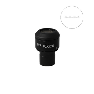 WF 10X Widefield Focusable Microscope Eyepiece with Reticle, X-Axis Crosshair, High Eyepoint, 23.2mm, FOV 20mm, Adjustable Diopter (One)