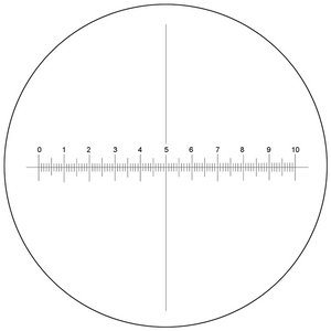Microscope Eyepiece Reticle Cross Line Micrometer Ruler, X-Axis Crosshair Scale Dia. 27mm, 10mm/100 Div.