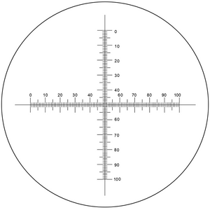Microscope Eyepiece Reticle Cross Line Micrometer Ruler, Dual Axis Crosshair Scale Dia. 27mm, 10mm/100 Div.