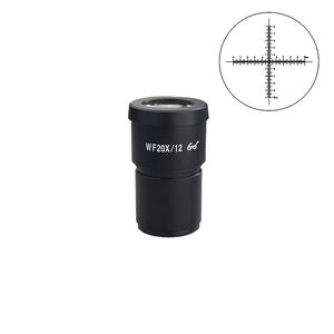 WF 20X Widefield Microscope Eyepiece with Reticle, Crosshair Scale, High Eyepoint, 30mm, FOV 12mm (One)