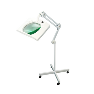 5 Diopter (2.25X Magnification) LED Magnifying Lamp on Rolling Floor Stand, Rectangle Head