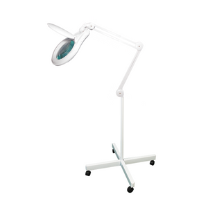 8 Diopter (3X Magnification) LED Magnifying Lamp on Rolling Floor Stand, 5 inch Lens + Flip Cover