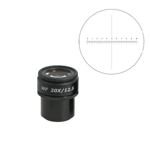 WF 20X Widefield Focusable Microscope Eyepiece with Reticle, X-Axis Crosshair, High Eyepoint, 30mm, FOV 12.5mm, Adjustable Diopter (One)