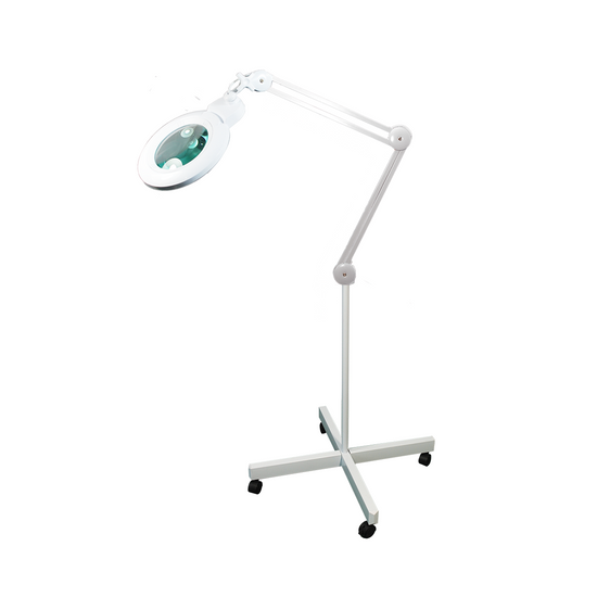 5 Diopter (2.25X Magnification) LED Magnifying Lamp on Rolling Floor Stand, 6 inch Lens