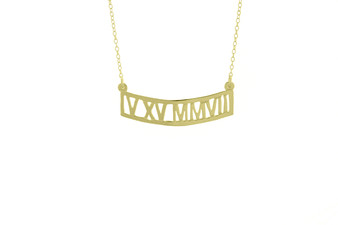 Gold Vermeil, Metal, Roman Numeral Necklace, Cut Out, Date, Year, Necklace