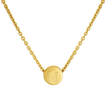 Zoey Necklace, Engraved Necklace, Gold Vermeil