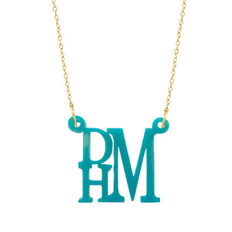 Acrylic, Stacked Monogram, Block, Split Chain, Turquoise