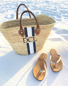 Diana Hand Painted Straw Beach Tote