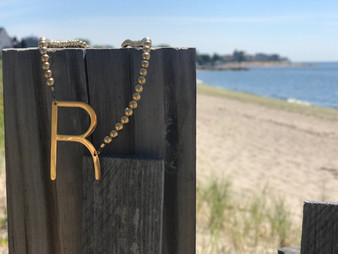 Isabelle Large Gold Sideways Initial with Gold Beads