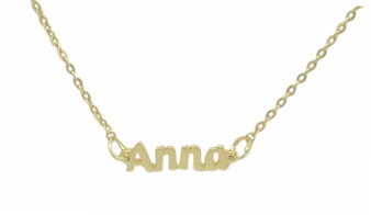 Personalized Cut Out Anna Nameplate Necklace