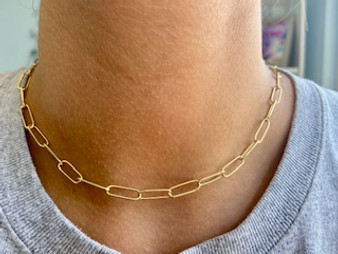 Paper Clip Gold Vermeil Link Necklace
