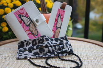 Cami Collection Butterfly Design Travel Set with Nantucket Lanyard Mask Holder (passport holder & luggage tag)