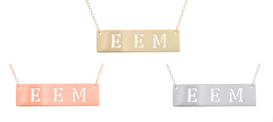 Cut Out Initial Bar Necklace