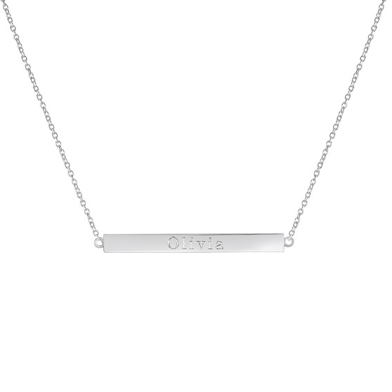 Sterling Silver, Lily Necklace, Name Necklace, Coordinate Necklace, Word Necklace, Engraved Bar Necklace
