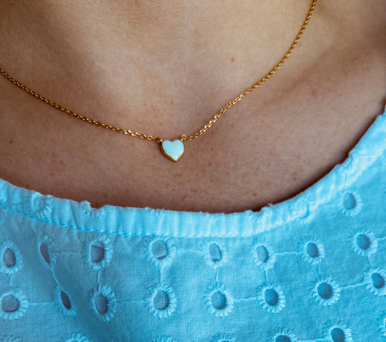 Small Enameled Heart Necklace