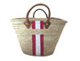 Hand Painted Striped Straw Bag, Personalized, Initials, Leather Handle, Lt Pink, White