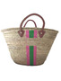 Hand Painted Striped Straw Bag, Personalized, Initials, Leather Handle, Lt Pink, Apple Green