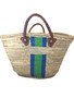 Hand Painted Striped Straw Bag, Personalized, Initials, Leather Handle, Royal Blue & Apple Green