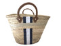 Hand Painted Striped Straw Bag, Personalized, Initials, Leather Handle, Black, White