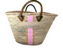 Hand Painted Striped Straw Bag, Personalized, Initials, Leather Handle, Gold & Lt Pink