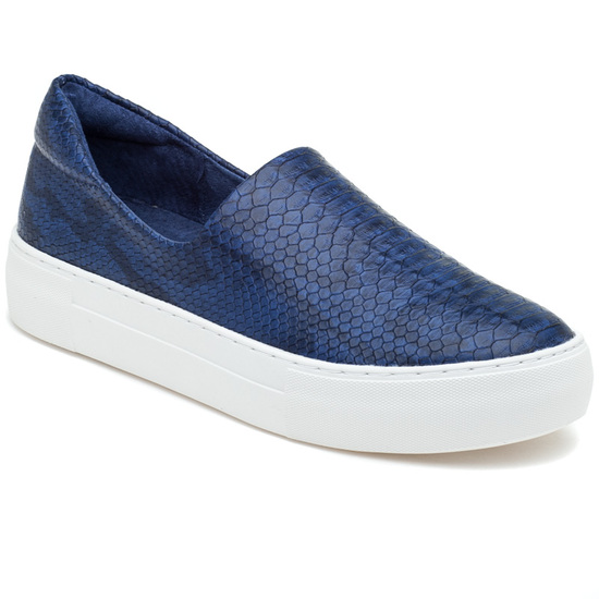 JSlides ARIANA Navy Embossed Leather