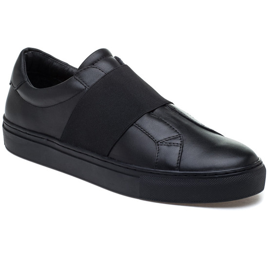 JSlides Mens DAREL Black Leather