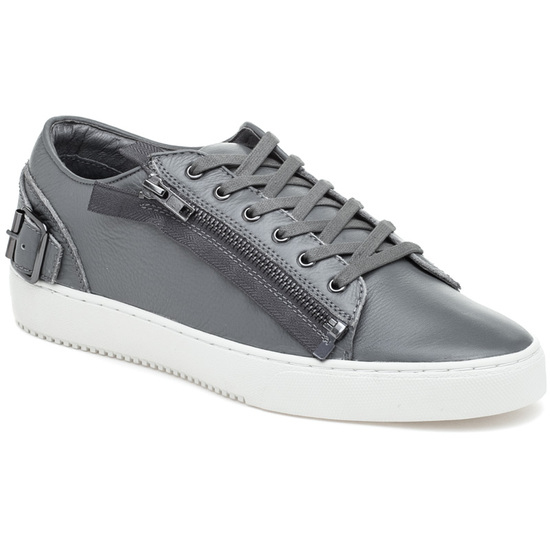 JSlides Mens WAYNE Grey Leather