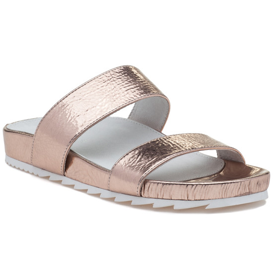 JSlides EDIE Rosegold Cracked Leather