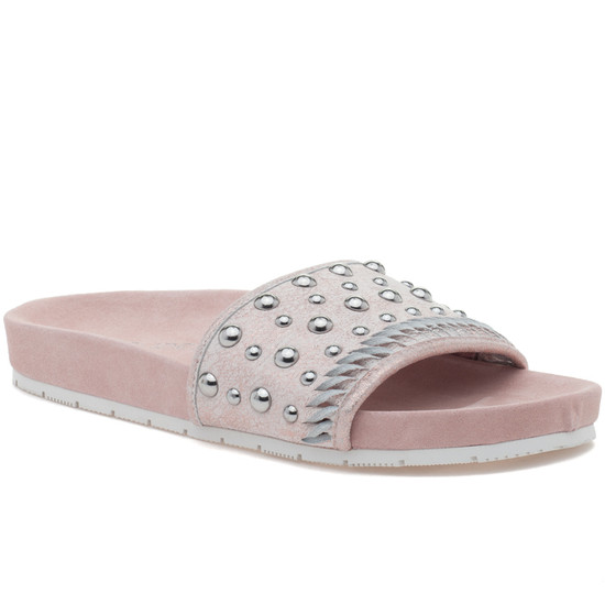 NORA Soft Pink Metallic Suede