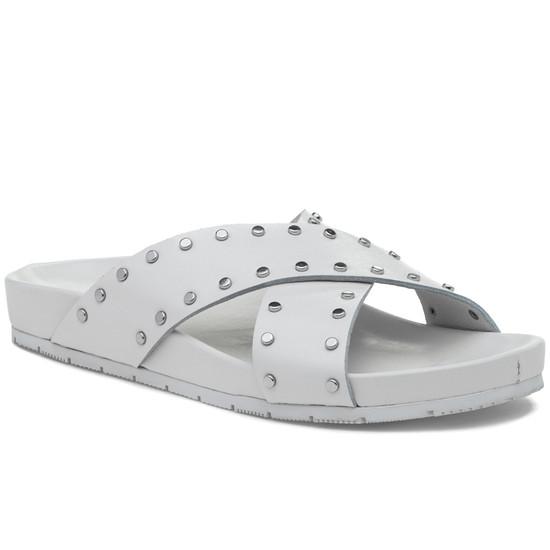 JSlides ELLIE White Leather