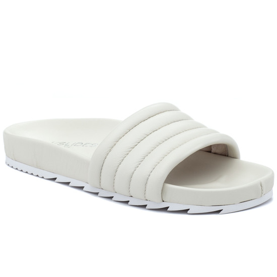 JSlides EPPIE Off White Leather