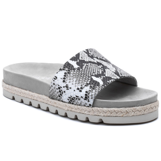 JSlides LIBBY Black White Leather