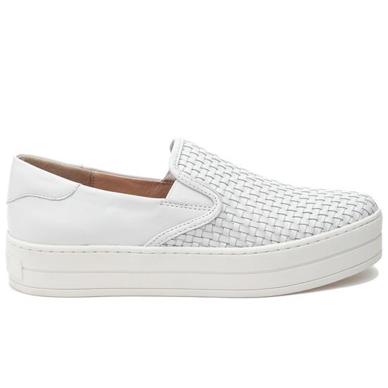 JSlides HALSEY White Leather