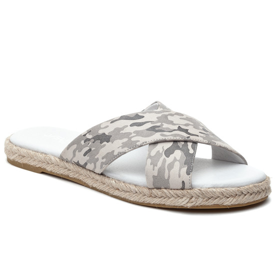 JSlides REVA Off White Camo Leather