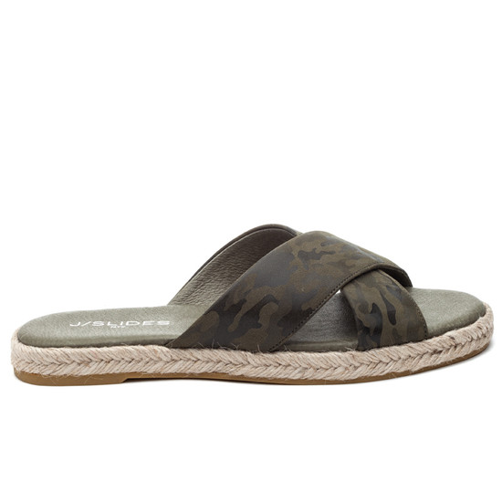 JSlides REVA Green Camo Leather