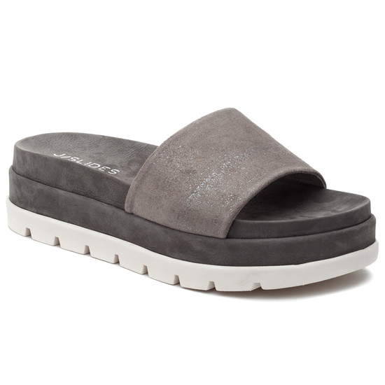 JSlides BIBI Pewter Metallic Leather