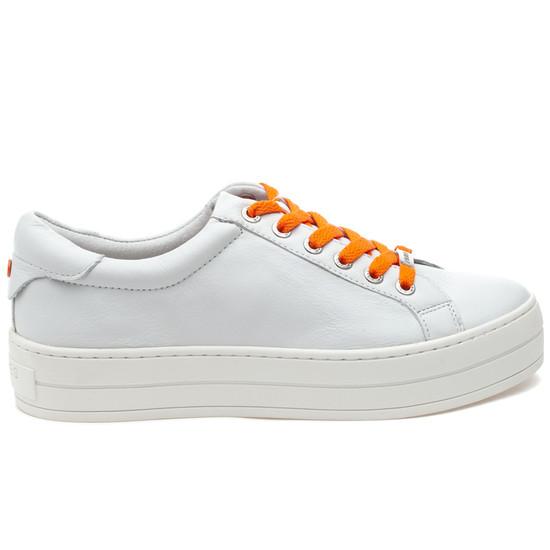 JSlides HIPPIE NEON White Leather/Orange