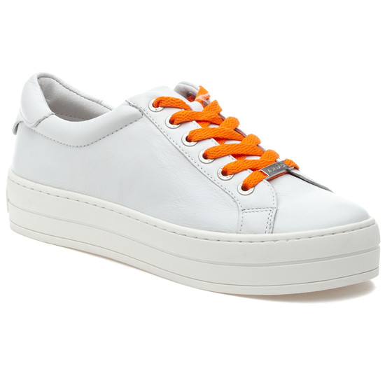 JSlides HIPPIE NEON White Leather/Orange
