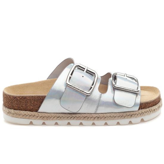 LEIGHTON Silver Metallic Leather