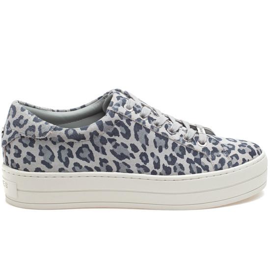 HILTON Light Grey Leopard Suede