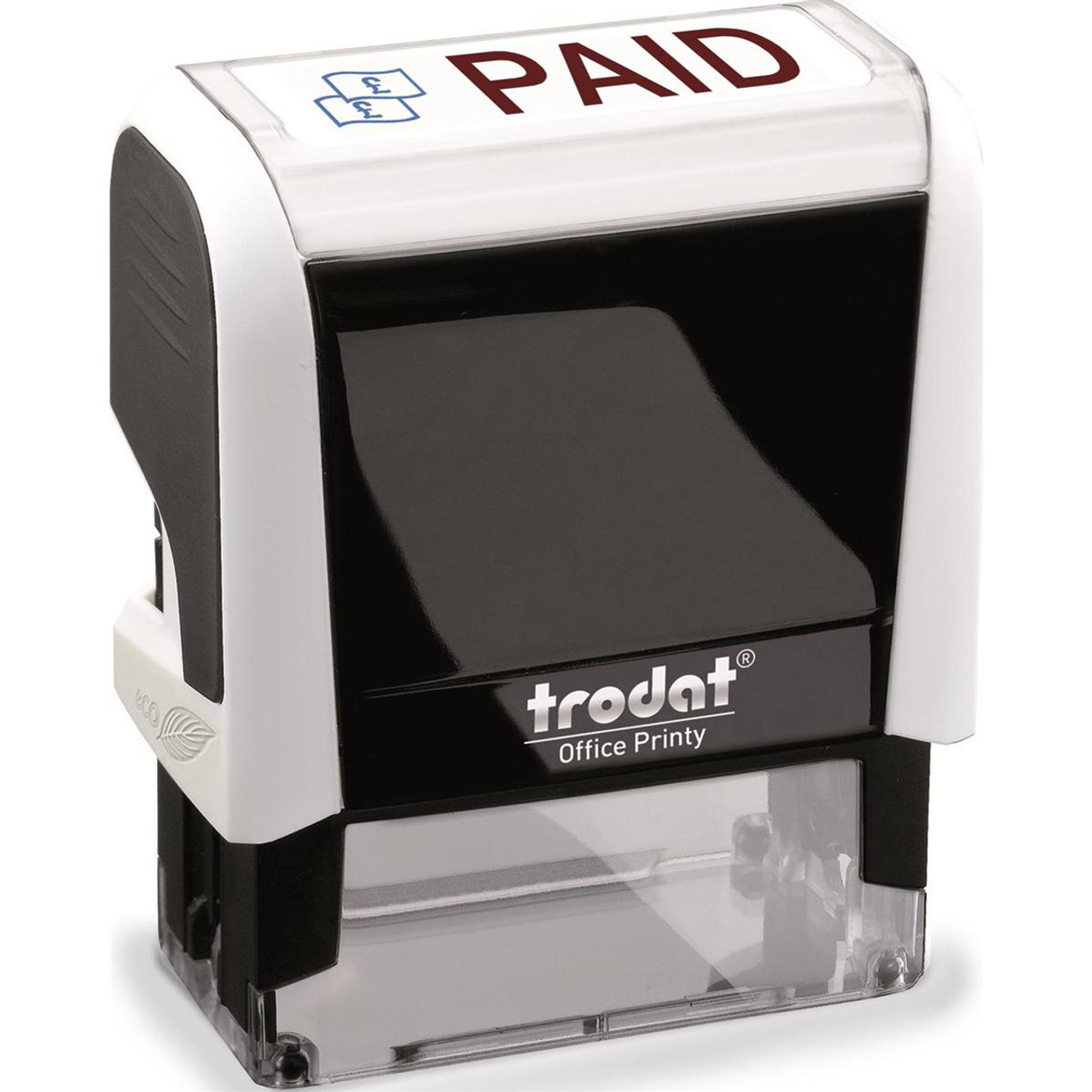 Trodat Printy 4750//L2 Dater Stamp Textplate Paid in Blue Date in Red Ref 64297