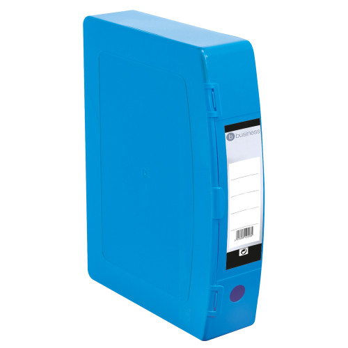 Business Box File 75mm Spine Polypropylene Twin Clip Lock Foolscap Blue