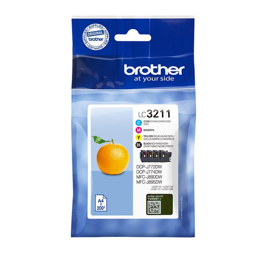 Brother LC3211 Inkjet Cartridge Multipack Black/Cyan/Magenta/Yellow LC-3211VAL