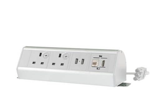 Desktop Power Extension 2x Individually-fused Sockets 2x USB 1x Ethernet 1x HDMI 2m GST18/3 Cable