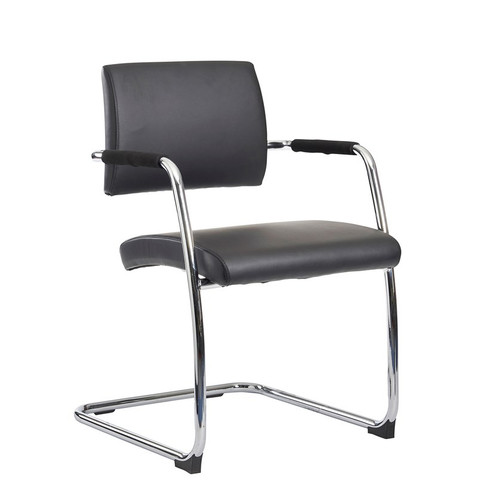 Bruges Meeting Room Cantilever Chair (Pack of 2) Black Faux Leather