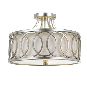 Libby Langdon for Crystorama Graham 3 Light Antique Silver Ceiling Mount (205 285-SA)