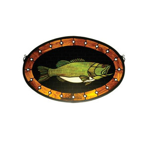 22''W X 14''H Bass Plaque Stained Glass Window (96 23970)