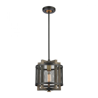 Woodbridge 1-Light Mini Pendant in Weathered Oak and Aged Brass with Matte Black Metal Mesh (91|16546/1)